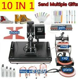 10 in 1 Combo Thermal Sublimation printer Heat Press Machine mugs, T-shirts, Shoes