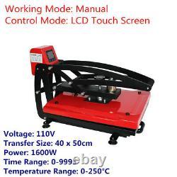110V 16x20 Auto Open Clam Heat Press Transfer Machine T-Shirt Vertical Version