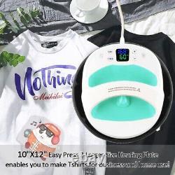 12×10 Digital Heat Press Machine Portable Easy Press Sublimation T-Shirt Cap