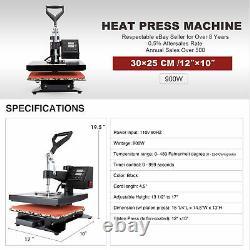 12x10 Heat Press Machine 900W T-Shirt Digital Transfer Sublimation Swing Away