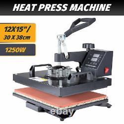 12x15 1250W T Shirt Heat Press Machine for Shirt Mask Phone Case Puzzles More