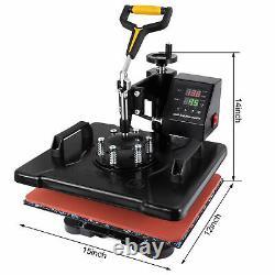 12x15 8 in 1 Heat Press Machine Swing Away Digital Sublimation T-shirt Mug Plate