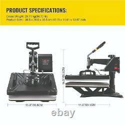 12x15'' Heat Press Transfer Machine 5 in 1 Swing Away Printing For T-Shirt Cap
