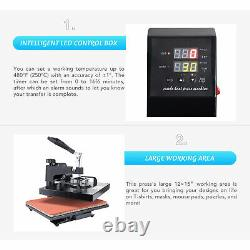 12x15 inch 5-in-1 T Shirt Heat Press Machine for Shirt Cup Puzzle Plate More