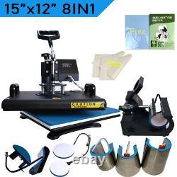 15x12 Combo 8in1 Heat Press Machine Transfer T-Shirt Mug Hat +Sublimation Paper
