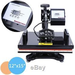 15x12 Digital Heat Press T-Shirt Sublimation Machine Transfer Swing Away DIY