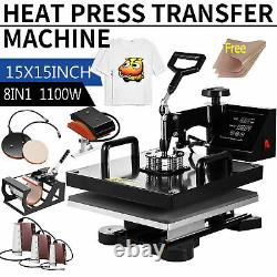 15x15 8IN1 Combo T-Shirt Heat Press Transfer Machine Sublimation Swing Away US