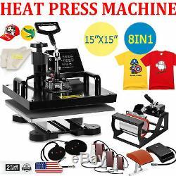 15x15 8 in 1 Heat Press Machine Digital Transfer Sublimation T-Shirt Mug Hat