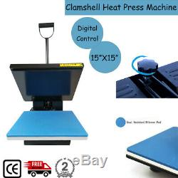 15x15 Clamshell Heat Press T-Shirt DIY Digital Transfer Sublimation Machine US