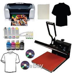 15x15 Heat Press, Printer, CISS, Bulk Ink, Heat Press Transfer Tshirt Start-up Bundl