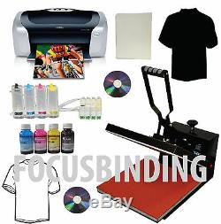 15x15 Heat Press, Printer, CISS, Ink Refills Transfer Paper Tshirt Start-up Bundle