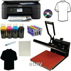 15x15 Heat Press, Wireless Printer, Bulk Ink Heat Transfer Tshirts Startup Bundle