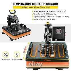 15x15 T-Shirt Heat Press Transfer 6IN1 Combo Swing Away Hat Plate 1100W