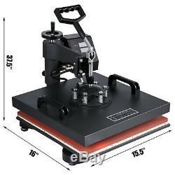 15x15 T-Shirt Heat Press Transfer 6IN1 Combo Swing Away Sublimation Mug Plate