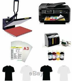 16x20 T-shirt Heat Press Machine Epson Printer 7710 11x17 CISS KIT