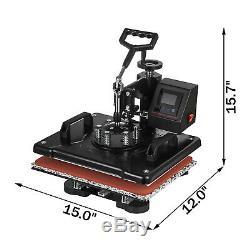 2IN1 15x12 Combo T-Shirt Heat Press Transfer Mug Plate Machine Multifunctional