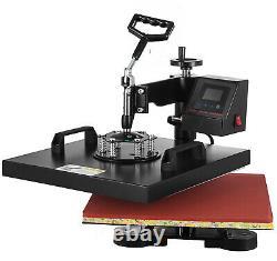 2IN1 15x15 Swing Away Heat Press Transfer Machine T-Shirt Cap Hat LED Display