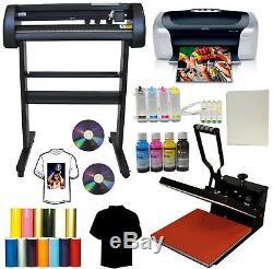 34 Metal 500g Vinyl Plotter Cutter 15x15 Heat Press Printer CISS Tshirt Bundle