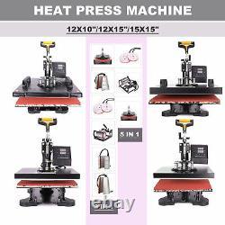 360°Swing Away Heat Press Machine Digital Transfer Sublimation T-Shirt Mug Hat