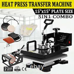 5 IN 1 15x15 T-Shirt Heat Press Transfer Machine Sublimation Swing Away HAT MUG