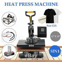 5 In 1 Digital Heat Press Machine 12 x 10For T-Shirt/Mug/Plate Hat Printer