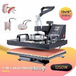 5 in1 Heat Press Machine 360°Swing Away T-Shirt Printing Press 12x15 Cap Hat Mug