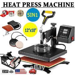 5 in 1 12x10 Digital Heat Press Machine T-shirt Mug Plate Hat Swing Away 900W