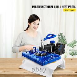 5 in 1 Heat Press 12X15 Swing Away T-Shirts Mug Plate Printer Transfer 800W