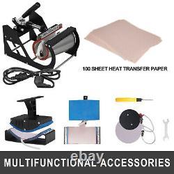 5 in 1 Heat Press Digital Sublimation T-Shirts Mug Hat + 100pcs Papers 12x15