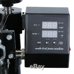 5 in 1 Heat Press Machine Digital Transfer Sublimation T-Shirt Mug Plate Cap Hat