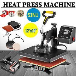 5 in 1 Heat Press Machine Swing Away Digital Sublimation T-Shirt Mug Cap Hat