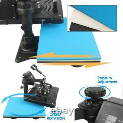 5 in 1 Heat Press Machine Swing Away Sublimation Transfer T-Shirt Mug Hat Plate