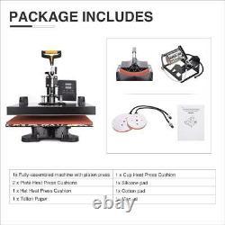 5 in 1 Heat Press Machine Swing Away T-Shirt Mug Hat 15x15 Digital Transfer