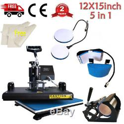 5in1 Combo Heat Press Machine Swing Away Digital Sublimation for T-shirt Mug Hat