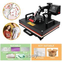 5in1 Heat Press Machine Digital Transfer Sublimation for Cap T-Shirt Mug 15x11