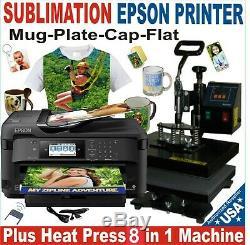 6 in1 HEAT PRESS TRANSFER 12X15 PLATE T-SHIRT HAT MUG PRINTER SUBLIMATION KIT