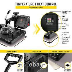 6 in 1 Heat Press Machine 12x15 Transfer for T-Shirts Hat Plate Cap Mug DIY