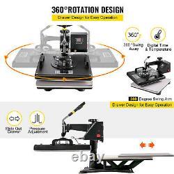 6 in 1 Heat Press Machine Digital Transfer Sublimation T-Shirt Mug Hat 15x15