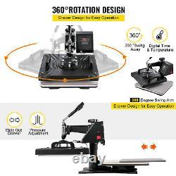 6in1 Digital T-Shirt 12x15 Heat Press Transfer Swing Away Sublimation Platen
