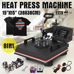 8IN1 Combo T-Shirt Heat Press Transfer 15x15 Baseball Hat Machine Swing Away
