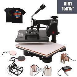 8 in1 Heat Press Machine 360°Swing T-Shirt Hat Mug Printing Press 15x15 USA