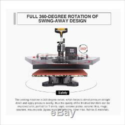 8 in1 T-Shirt Cap Plate Mug Heat Press Machine 15x15 Digital Transfer Printer