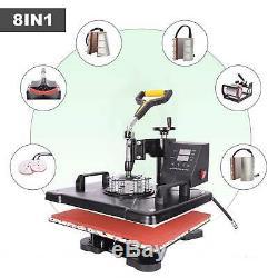 8 in 1 1215 Digital Transfer Sublimation Heat Press Machine for Mug Hat T-Shirt
