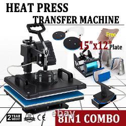 8 in 1 15'' x 12'' Heat Press Transfer Machine Sublimation T-Shirt Mug Hat Cap