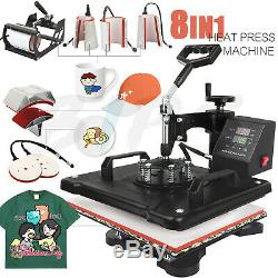 8 in 1 Combo Heat Press Machine 12 x 15 T shirt Mug Digtal Sublimation Transfer