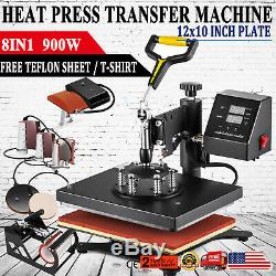 8 in 1 Combo Heat Press Machine Digital Transfer Sublimation T-Shirt Mug Hat