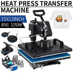 8 in 1 Digital Heat Press Machine Sublimation For T-Shirt Mug Hat Combo Home DIY
