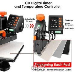 8-in-1 Heat Press Machine 360-Degree Swing Away Printing Transfer T-Shirt & Hat