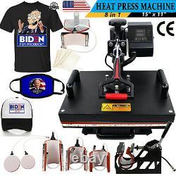 8 in 1 Heat Press Machine Digital Transfer Sublimation Cap T-Shirt Mug 15x11