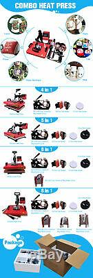 8 in 1 Heat Press Machine Digital Transfer Sublimation for DIY T-shirt Mugs Hats